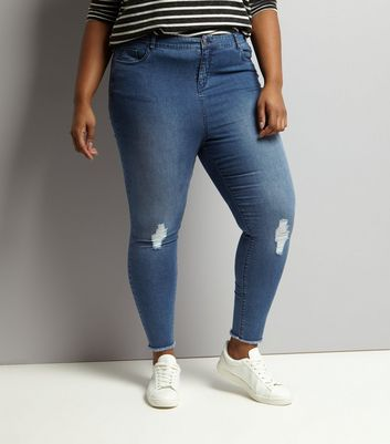 Curves Blue Ripped Skinny Jeans