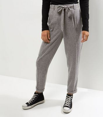 Grey Speckled Tie Waist Trousers