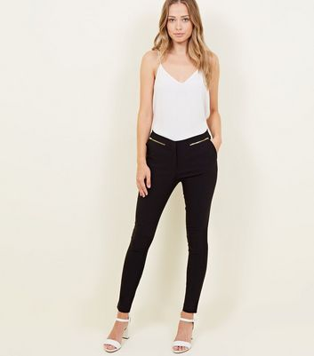 Black Zip Side Bengaline Slim Leg Trousers