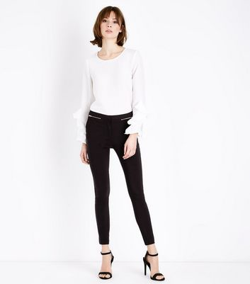 Black Short Length Zip Side Slim Leg Stretch Trousers