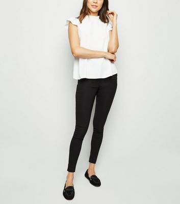 Black Zip Trim Bengaline Slim Leg Trousers
