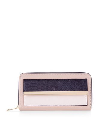 Pink Pocket Front Metal Trim Purse