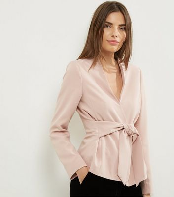 Shell Pink Tie Front Cropped Jacket