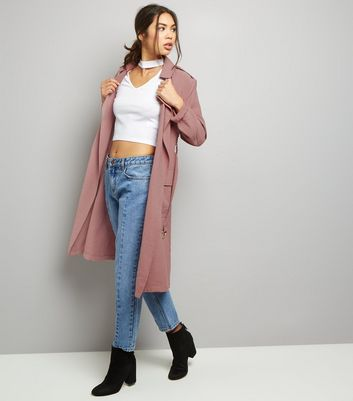 Shell Pink Soft Belted Military Trench Coat