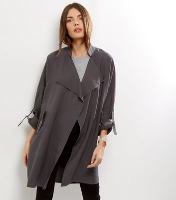 Dark Grey Waterfall Duster Coat