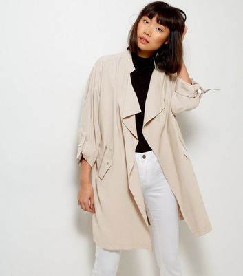 Veste longue beige style waterfall