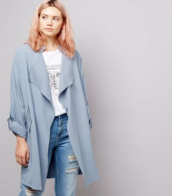 Pale Blue Waterfall Duster Coat
