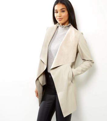 Veste longue waterfall en similicuir beige