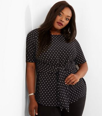 Curves Black Spot Print Tie Front Top