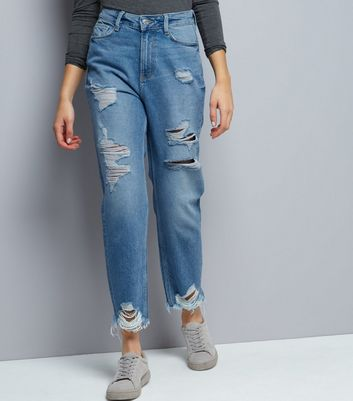 Blue Ripped Straight Leg Tori Jeans