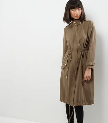 Khaki Drawstring Waist Duster Coat