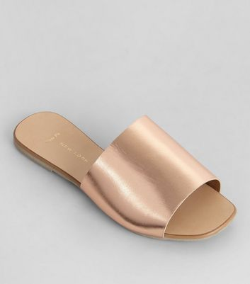 Wide Fit - Mules en cuir or rose