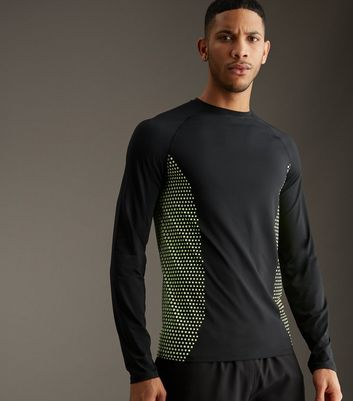 Black Honeycomb Print Sports Long Sleeve T-Shirt