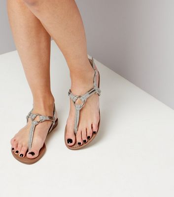 Silver Glitter Metal Ring Toe Post Sandals