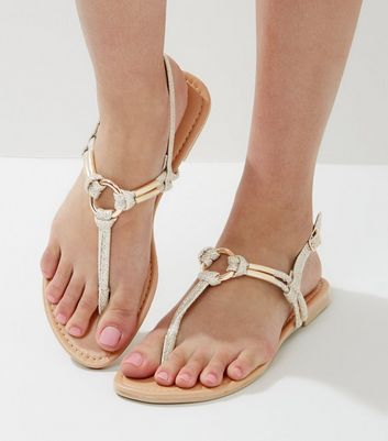 Gold Glitter Metal Ring Toe Post Sandals