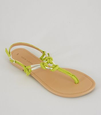 Neon Green Metal Ring Toe Post Sandals