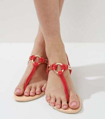 Red Metal Ring Toe Post Sandals
