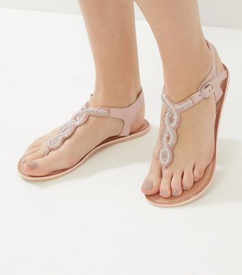 Nude Beaded Leather Sandals