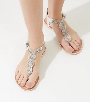 Silver Beaded Leather Sandals