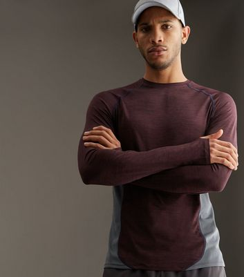 Burgundy Contrast Panel Long Sleeve Sports T-Shirt