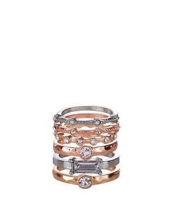 6 Pack Gold Silver and Rose Gold Stack Rings