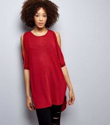 Red Batwing Sleeve Zip Trim Dip Hem Top