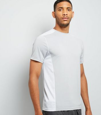 Pale Grey Panelled Running T-Shirt