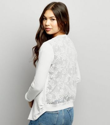 White Lace Back Cardigan