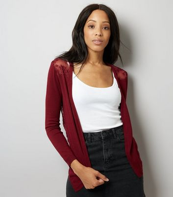 Burgundy Lace Back Cardigan