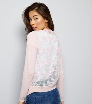 Shell Pink Lace Back Cardigan