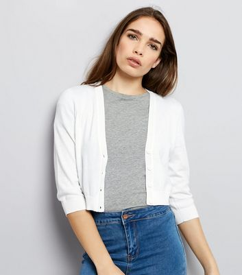 White Cropped Cardigan