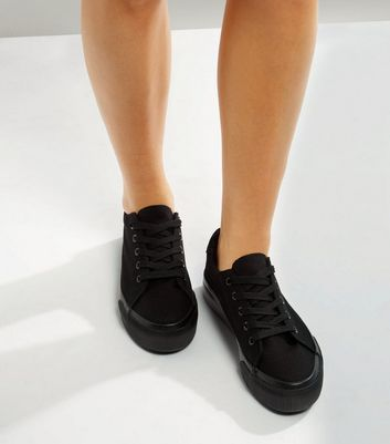 Black Lace Up Platform Trainers