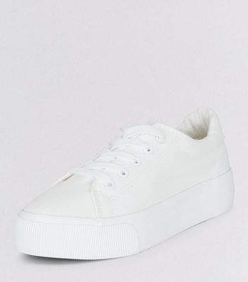 White Lace Up Platform Trainers