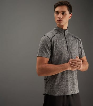 Grey Zip Front Funnel Neck Sports T-Shirt