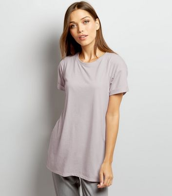 Lilac Roll Sleeve Boyfriend T-Shirt
