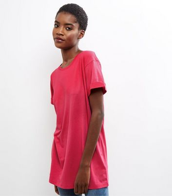 Pink Roll Sleeve Boyfriend T-Shirt