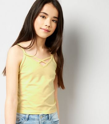 Teens Yellow Cross Strap Front Cami Top