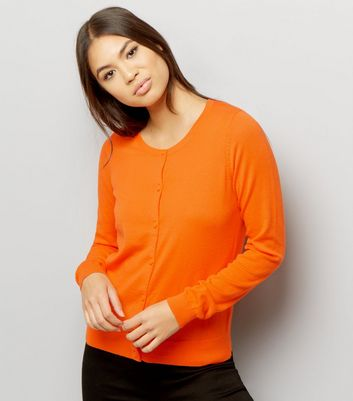Bright Orange Crew Neck Cardigan
