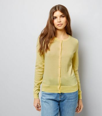 Yellow Crew Neck Cardigan