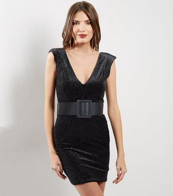 Black V Neck Glitter Velvet Bodycon Dress