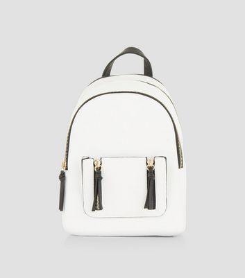 White Zip Trim Mini Curved Backpack