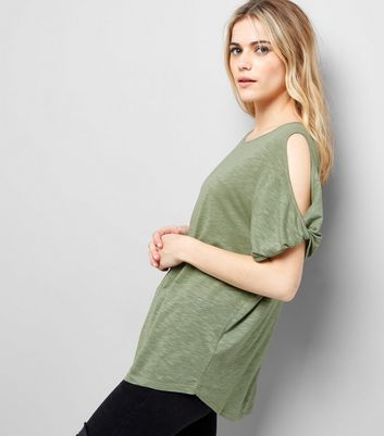 Olive Green Twist Sleeve Cold Shoulder T-Shirt