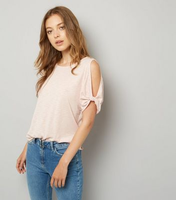 Pink Twist Sleeve Cold Shoulder T-Shirt