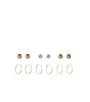 6 Pack Silver and Gold Stud and Hoop Earrings