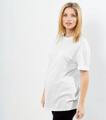 Maternity White Rolled Sleeve Oversized T-shirt