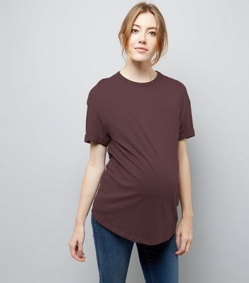 Maternity Burgundy Rolled Sleeve Oversized T-shirt