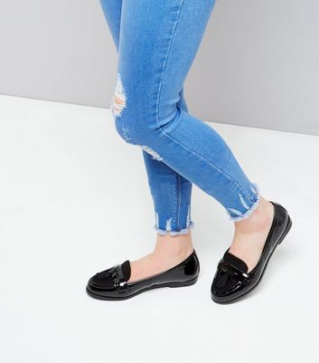 Teens Black Patent Tassel Front Loafers
