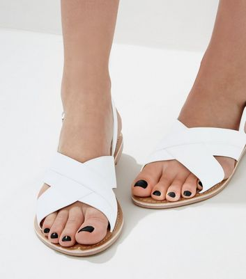 White Leather Cross Strap Sling Back Sandals