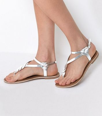 Silver Leather Metallic Twist Front Sandals