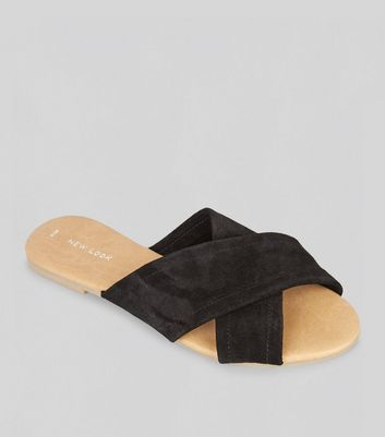 Black Suede Cross Strap Mules